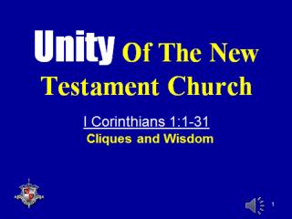 I. Unity – An Important Characteristic Of The Church