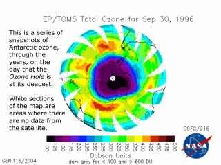 This is a series of snapshots of Antarctic ozone, through the years, on the day that the