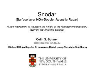 Colin S. Bonner cbonner@phys.unsw.au