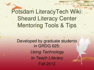 Potsdam LiteracyTech Wiki: Sheard Literacy Center Mentoring Tools & Tips