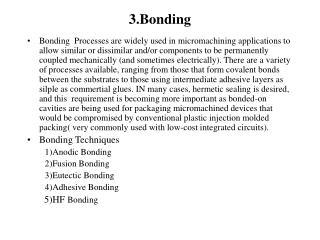 3. Bonding