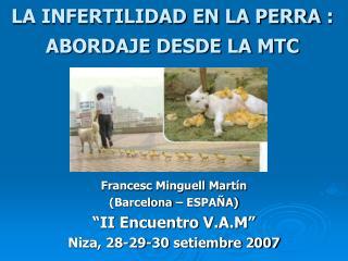LA INFERTILIDAD EN LA PERRA:  ABORDAJE DESDE LA MTC