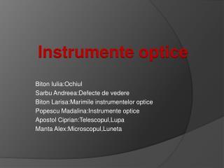 Biton Iulia:Ochiul Sarbu Andreea:Defecte  de  vedere Biton Larisa:Marimile instrumentelor optice