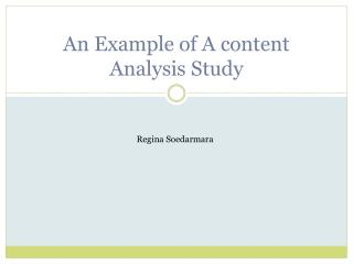 An Example of A content Analysis Study