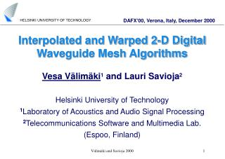 Interpolated and Warped 2-D Digital Waveguide Mesh Algorithms