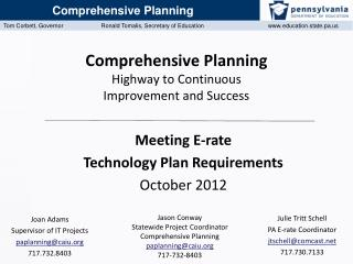 Comprehensive Planning Highway to Continuous  Improvement and Success