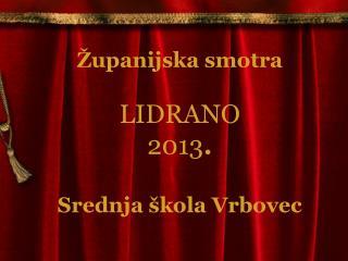 Županijska smotra LIDRANO  2013 . Srednja škola Vrbovec