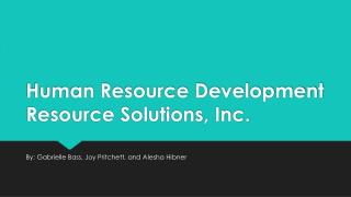 Human Resource Development Resource Solutions, Inc.