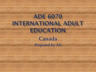ADE 6070 International Adult Education