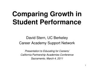 Comparing Growth in Student Performance