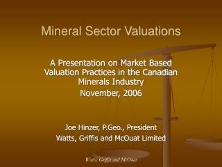 Mineral Sector Valuations