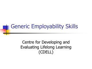 Generic Employability Skills