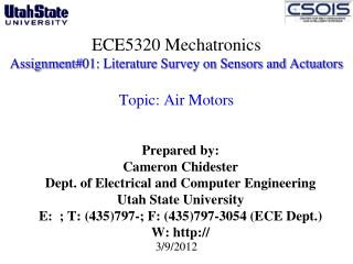 ECE5320 Mechatronics Assignment#01: Literature Survey on Sensors and Actuators  Topic: Air Motors