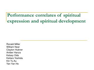 Performance correlates of spiritual expression and spiritual development