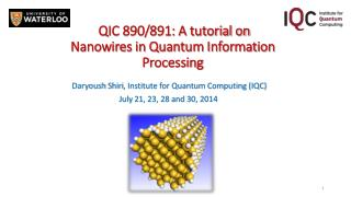 QIC 890/891: A tutorial on Nanowires in Quantum Information Processing
