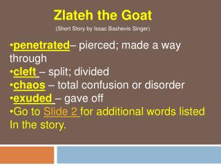 Zlateh the Goat