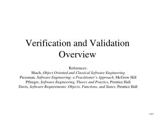 Verification and Validation Overview