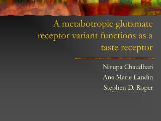 A metabotropic glutamate receptor variant functions as a taste receptor