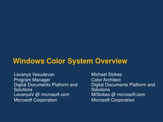 Windows Color System Overview