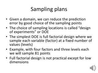 Sampling plans