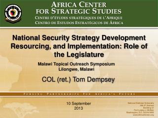 Africa Center  for Strategic Studies Centre d ' études stratégiques de l ' Afrique