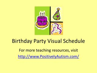 Birthday Party Visual Schedule