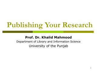 Publishing Your Research