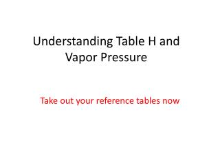 Understanding Table H and Vapor Pressure