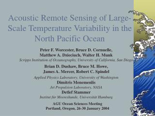 Acoustic Remote Sensing of Large-Scale Temperature Variability in the North Pacific Ocean