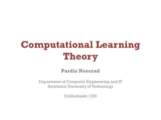 Computational Learning Theory