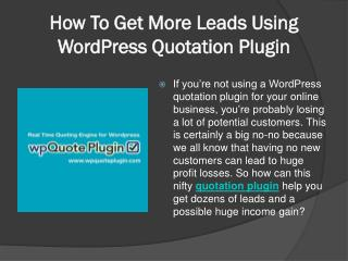 How To Get More Leads Using WordPress Quotation Plugin
