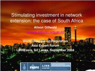 Stimulating investment in network extension: the case of South Africa