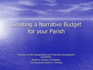 Creating a Narrative Budget for your Parish
