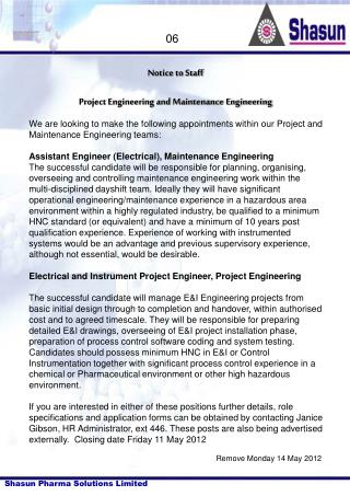 Notice to Staff Project Engineering and Maintenance Engineering