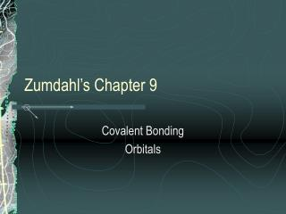 Zumdahl's Chapter 9