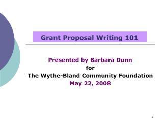 Grant Proposal Writing 101