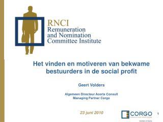 Het vinden en motiveren van bekwame bestuurders in de social profit   Geert Volders