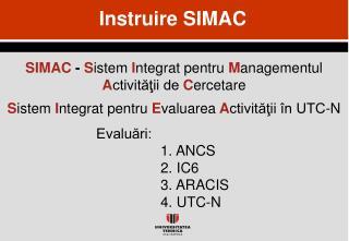Instruire SIMAC