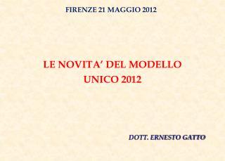 LE NOVITA' DEL MODELLO UNICO 2012
