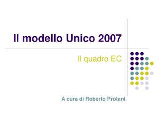Il modello Unico 2007