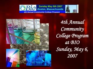 4th Annual Community College Program at BIO Sunday, May 6, 2007