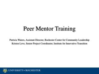 Peer Mentor Training