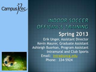 INDOOR  soccer Official's Training