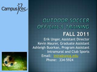 Outdoor soccer Official's Training