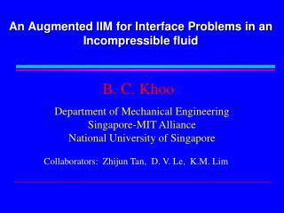 An Augmented IIM for Interface Problems in an Incompressible fluid