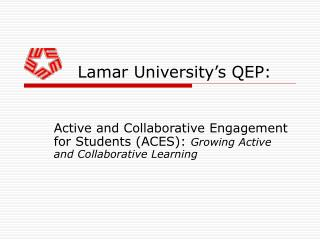 Lamar University's QEP: