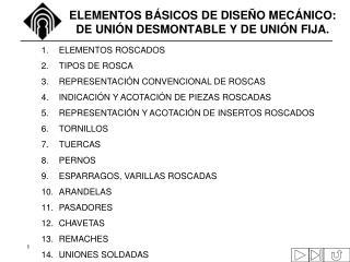 ELEMENTOS BÁSICOS DE DISEÑO MECÁNICO: DE UNIÓN DESMONTABLE Y DE UNIÓN FIJA.