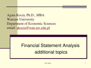 Financial Statement Analysis additional topics