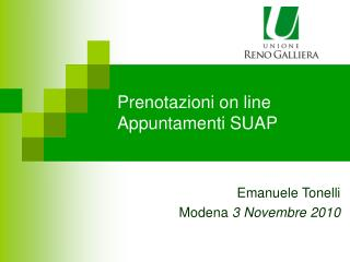 Prenotazioni on line Appuntamenti SUAP