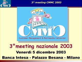 3°meeting nazionale 2003 Venerdì 5 dicembre 2003  Banca Intesa - Palazzo Besana - Milano